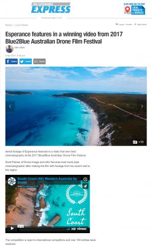Scott Palmer wins Blue2Blue Australian Drone Film Festival Best Cinematographer in 2017 with Esperance based film South Coast DJI Inspire 1